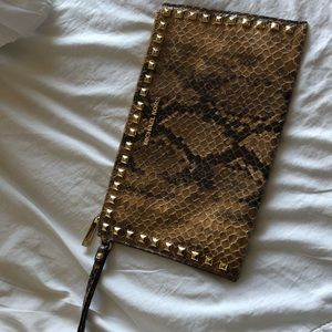 Michael Kors Python Embossed Leather Clutch Bag